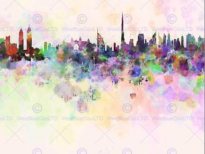 Abstract Cityscape Dubai Uae Paint Splash Skyline Art Poster Print Cc6059