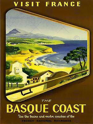 Travel Tourism Basque France French Train Railway Rail Vintage Poster Art 2310Py