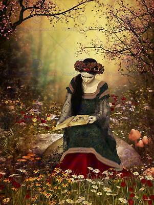 Woman Reading Forest Fairytale Photo Art Print Poster Picture Bmp2078B