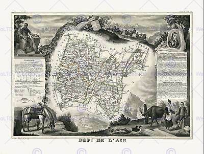 Map Antique Illustrated France Levasseur Aisne Department Print Poster Hp1427
