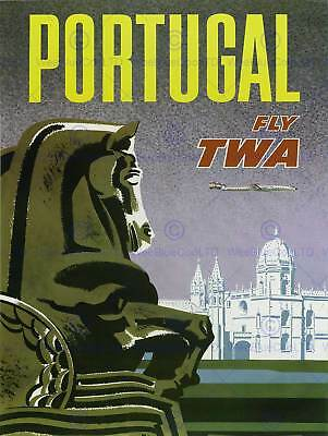 Travel Twa Trans World Airline Portugal Vintage Retro Advertising Poster 2236Py