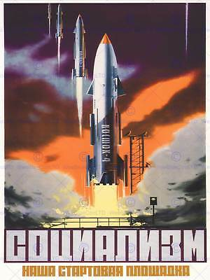 Propaganda Soviet Space Rocket Launch Ussr Communism Poster Art Print Bb2716A