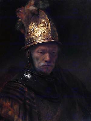 Rembrandt (Circle) Man With Golden Helmet Old Master Art Painting Print 2621Om
