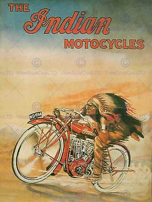 Advert Indian Motorcycles Transport Bike Red Chief Art Print Poster Bb7018