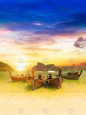 Photography Seascape Thailand Beach Boats Koh Phi Sunset Print Poster Mp3551B