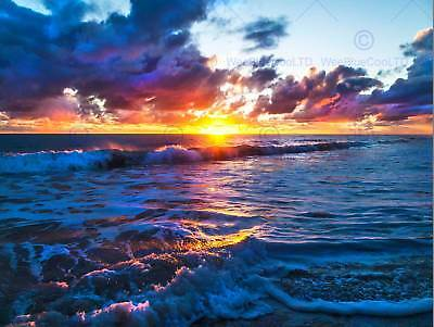 Photo Seascape Sunset Ocean Waves Beach Clouds Sun Bright Shore Poster Bmp11424
