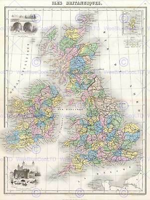 MAP THE BRITISH ISLES ENGLAND, IRELAND SCOTLAND POSTER PRINT 12x16 inch 2960PY