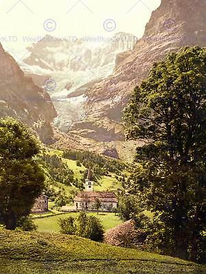 Vintage Landscape Church Valley Eiger Alpine Switzerland 12X16 Inch Framed Print
