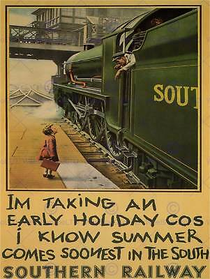 Travel Tourism Railway Southern Holiday Uk Vintage Advertising Poster Art 2488Py