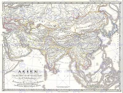 1855 Spruner Map Asia In The 9Th And 10Th Centuries Vintage Poster Print 2926Py