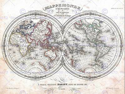 DU BOCAGE MAP THE WORLD IN HEMISPHERES1848 POSTER ART PRINT 12x16 inch 2889PY
