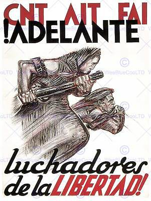 WAR SPANISH CIVIL PROPAGANDA FAI CNT ANARCHIST SPAIN DURRUTI RETRO POSTER 2867PY
