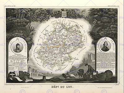 Map Old France Levasseur Lot Department Poster Art Print Bb12056B