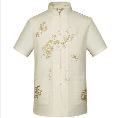 Chinese Element Traditional Men's Embroider Dragon New Kung Fu Shirts Tops S-3XL