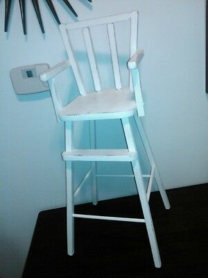 Vintage Wooden Play Doll Highchair Painted Cream Off White Worn