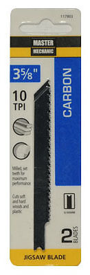 Disston 117903 2-Pack 3-5/8-Inch 10-TPI Carbon Jigsaw Blade - Quantity 1