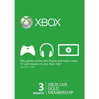 Microsoft Xbox One 360 3 Month Months Live Gold Membership Card - FAST DISPATCH