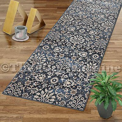VINTAGE BLUE ALLOVER ANTIQUE STYLE TRADITIONAL RUG RUNNER 80x500cm **NEW**