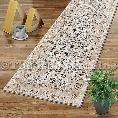VINTAGE GREY CREAM FADED ALLOVER ANTIQUE STYLE CLASSIC RUG RUNNER 80x300cm **NEW