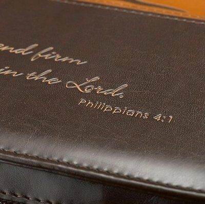 Two Tone Large Bible Book Cover Engraved Zipper Faux Leather Church Safe Travel