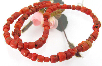 1000 Years Old Genuine Antique Gemstone Red Coral Beads  Necklace Jewelry