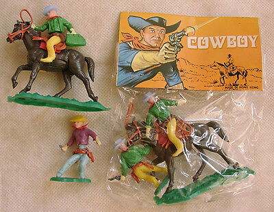 2 Soldatini Toy Soldiers Hong Kong Anni '80 Swoppet Cowboy Plastica Scala 1/32