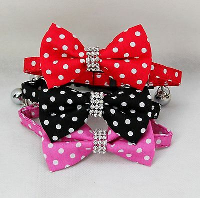 Cat Collar bow tie break free safety bowtie polka dot spot spotty snap