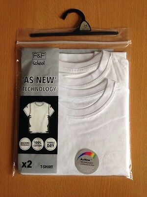 Back to School, Two Pack, White T-Shirts for 5-6 Years Old, for Boys or Girls.