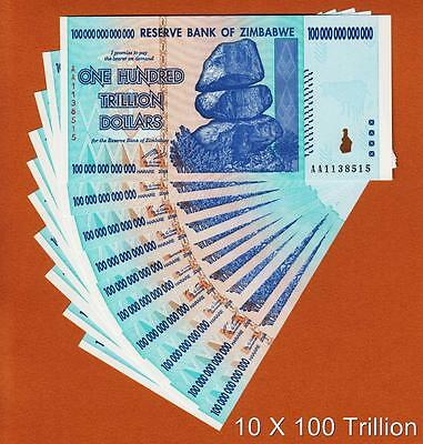 Zimbabwe 10 Pieces 100 TRILLION Dollars AA- 2008 Pick-91 UNC (SHIP FROM CANADA)