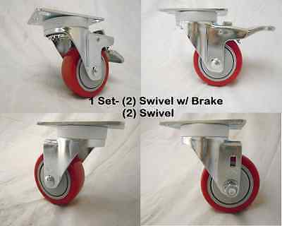 "3"" x 1-1/4"" Swivel Casters Polyurethane Wheel w/ Brake(2) & Swivel(2)  300lb ea"