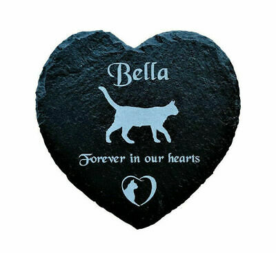 Personalised Engraved Large Slate Heart Pet Memorial Hanging Plaque For A Cat