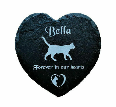Personalised Engraved Slate Heart Pet Memorial Hanging Plaque For A Cat