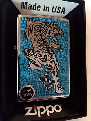 Zippo Lighter Blue Tiger High Polish Chrome Custom Limited 250 windproof lighter