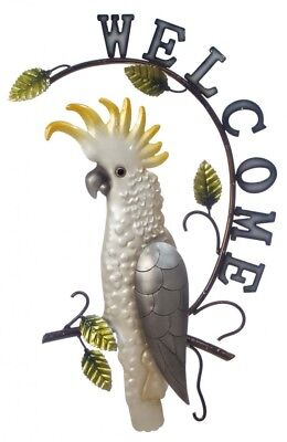 Cockatoo Metal Wall Art Welcome Sign Bird Parrot Hanging Garden Ornament *53 cm*