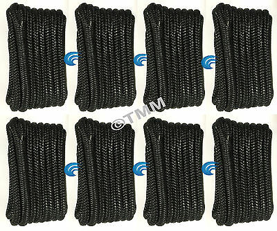 "(8) Black Double Braided 3/8"" x 20' ft HQ Boat Marine DOCK LINES Mooring Ropes"