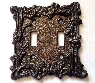 Vintage Ornate Roses Double Light Switch Plate Cover Cast Metal 1960s Art Deco
