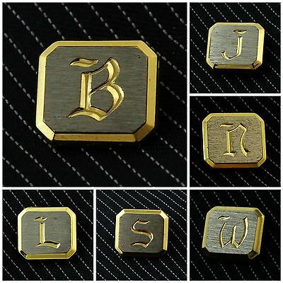 Vintage Tie Pin Initial Letter Tie Tack Two Tone