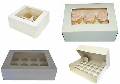 1, 2, 4, 6 OR 12 Hole Cupcake Fairy cake Muffin boxes clear Window 4 Inch Deep