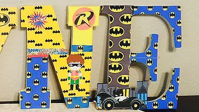 Super Hero Children Wooden Block Names, Characters: Batman And More Per Request