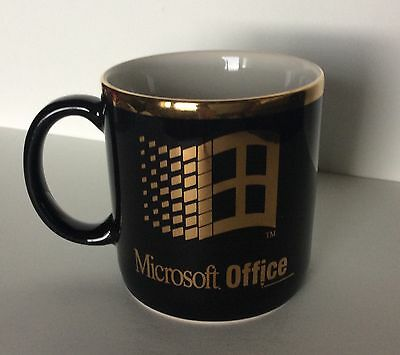 Collectible MICROSOFT OFFICE Black And Gold Coffee Mug