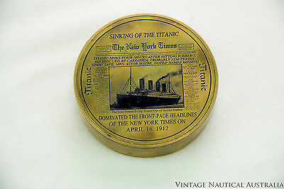 Compass - Brass Antique Depicting Titanic History camping essential