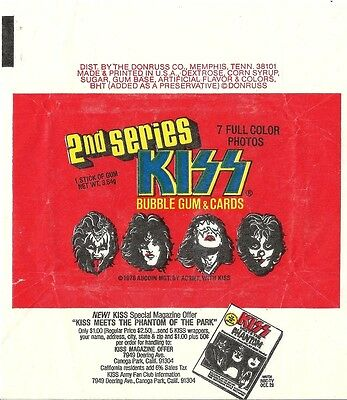 KISS Series 2 II - 1x Wax Pack Card Wrapper - Donruss 1978 - NO TEARS !!!