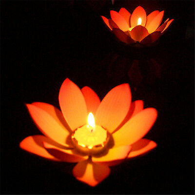 Lotus Flower Night Light Candle Pool Pond River Lake Colorful Outdoor Light