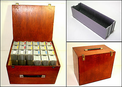 Vintage 1970's Wooden Slides Projector Box with 21x GNOME Slide Magazines