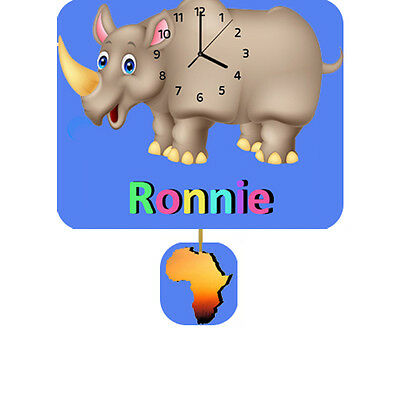 Personalised Rhino Clock, Wall Clock, Pendulum Clock, Childrens Clock, Gifts