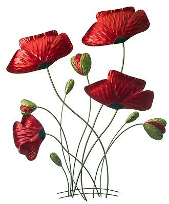 Red Poppy Flowers Metal Hanging Wall Art Home & Garden Décor LARGE 47x60 cm