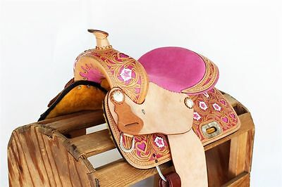PINK 13 inch seat leather western saddle