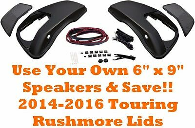 "HOGTUNES HARLEY 2014 & UP TOURING SADDLEBAG LIDS ONLY FOR 6"" x 9"" SPEAKERS"
