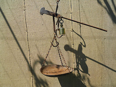 Antique Bulgarian Handforged Iron Balance Scale 19 Century with Master stamp
