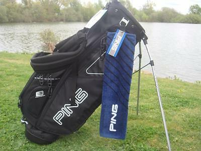 Ping Golf - Tri-folded Towel - Navy with Black Strips + FREE Tour Tees